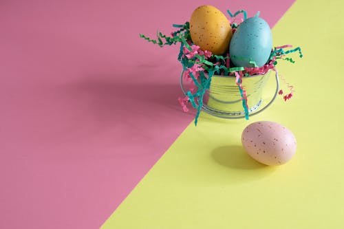 Three Colorful Easter Eggs