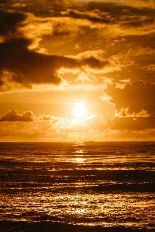 Bright sundown over sea water