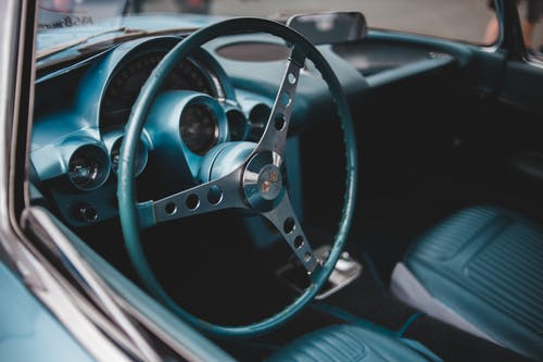 Blue and Silver Steering Wheel