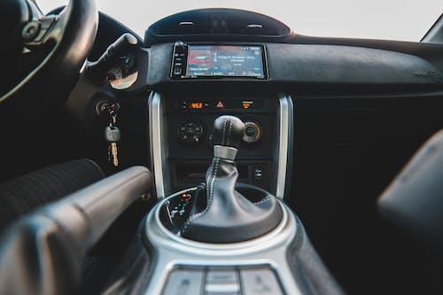 Gear stick inside modern vehicle