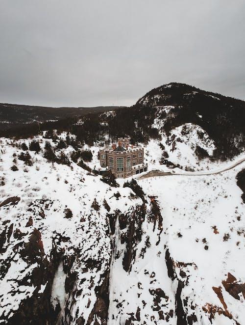 Remote resort building in snowy highlands