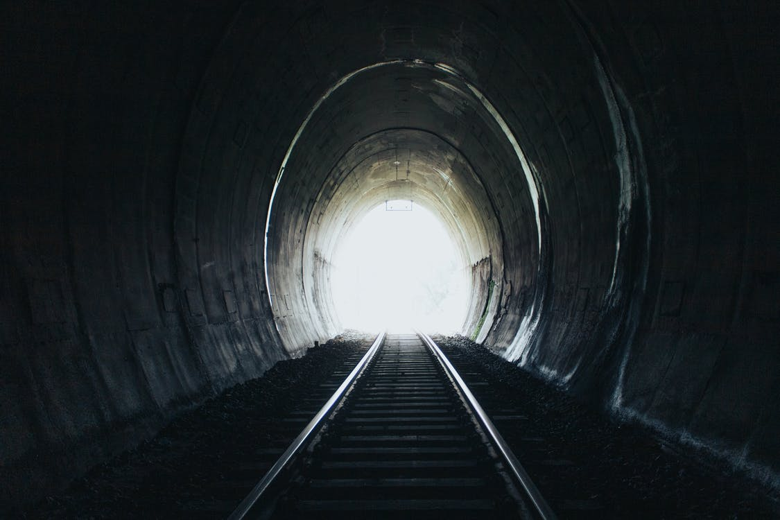 Tunnel With Black Railway