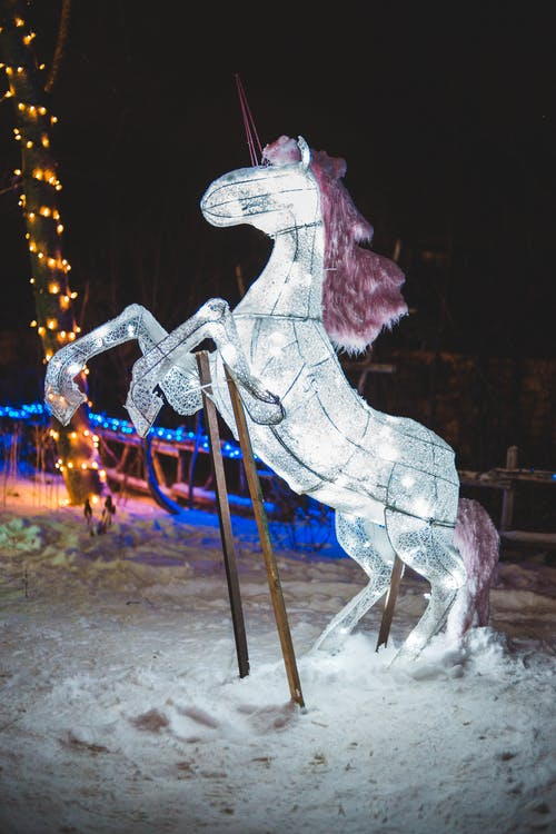 Unicorn Statue on Snow during Night Time