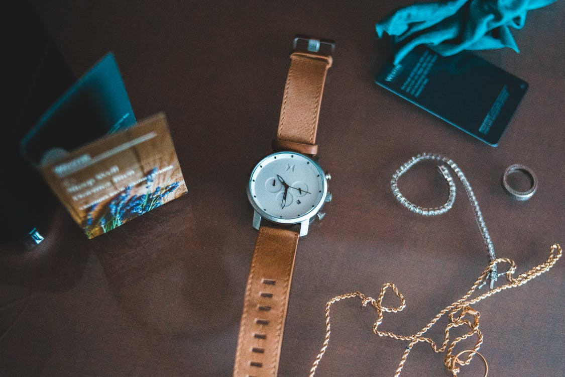 Silver Round Analog Watch With Brown Leather Strap