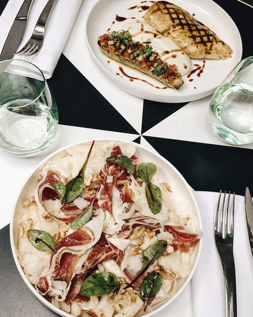 Food in White Plates