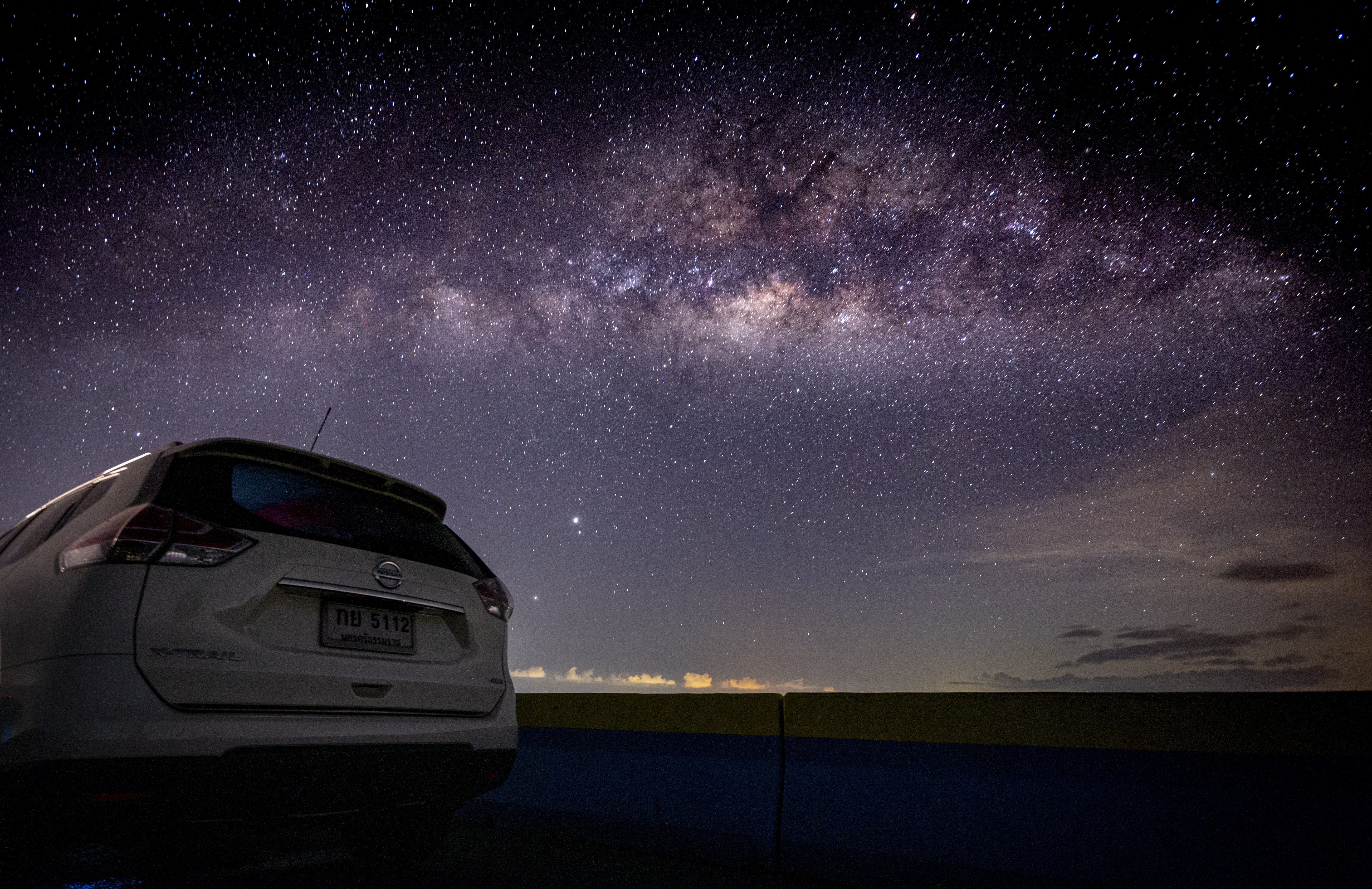 White Car On Road During Night Time Free Stock Photo