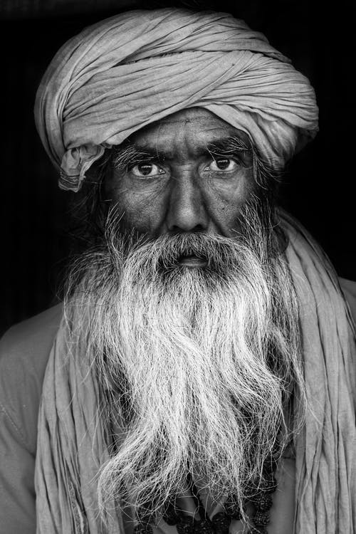 Monochrome Photo of Man Wearing Turban
