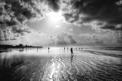 Anonymous people enjoying sunset on sandy seashore