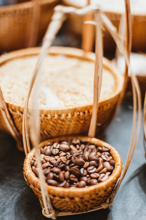 Coffee Beans on Brown Wicker Basket