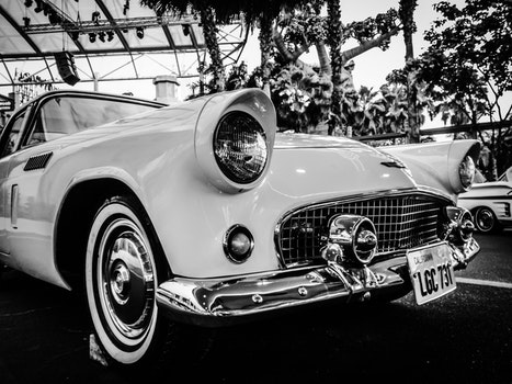 Gray Scale Photography of Car