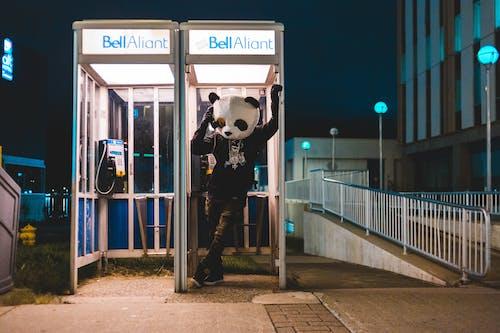 Mann Im Schwarzweiss Panda Kostüm, Das Auf Münztelefon Stand Während Der Nachtzeit Steht