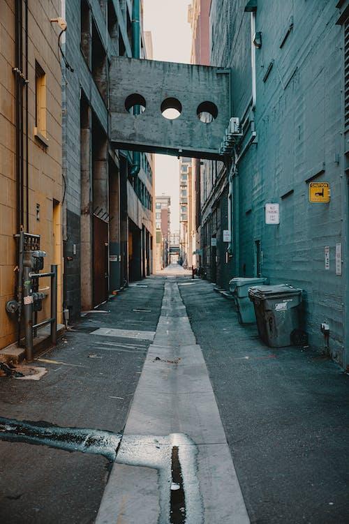 Empty Street With Trash Bins