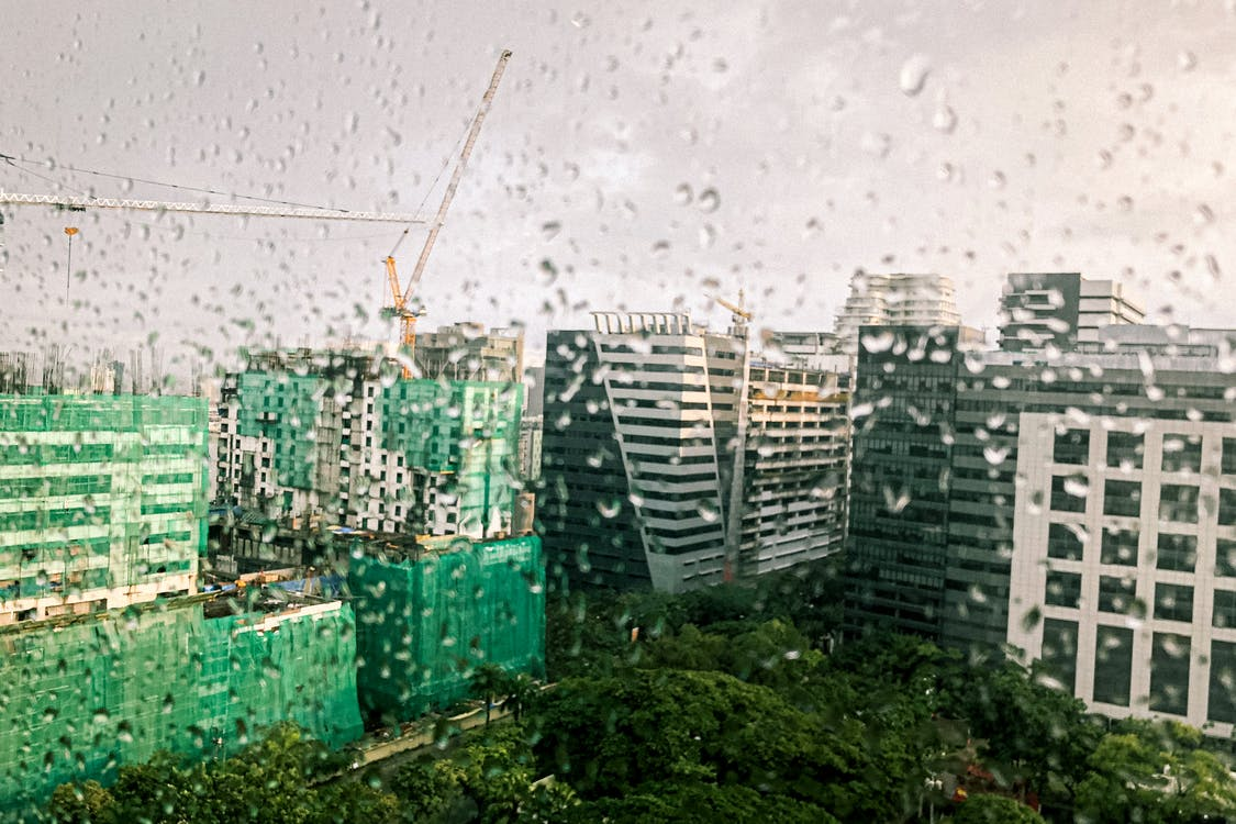 Green and White Concrete Buildings