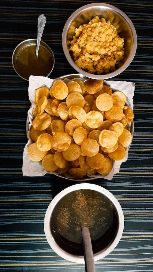 Panipuri Snacks on Silver Bowls