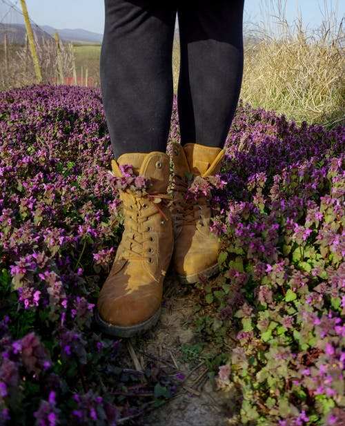 Person Wearing Brown Leather Boots Standing on Purple Flower Field