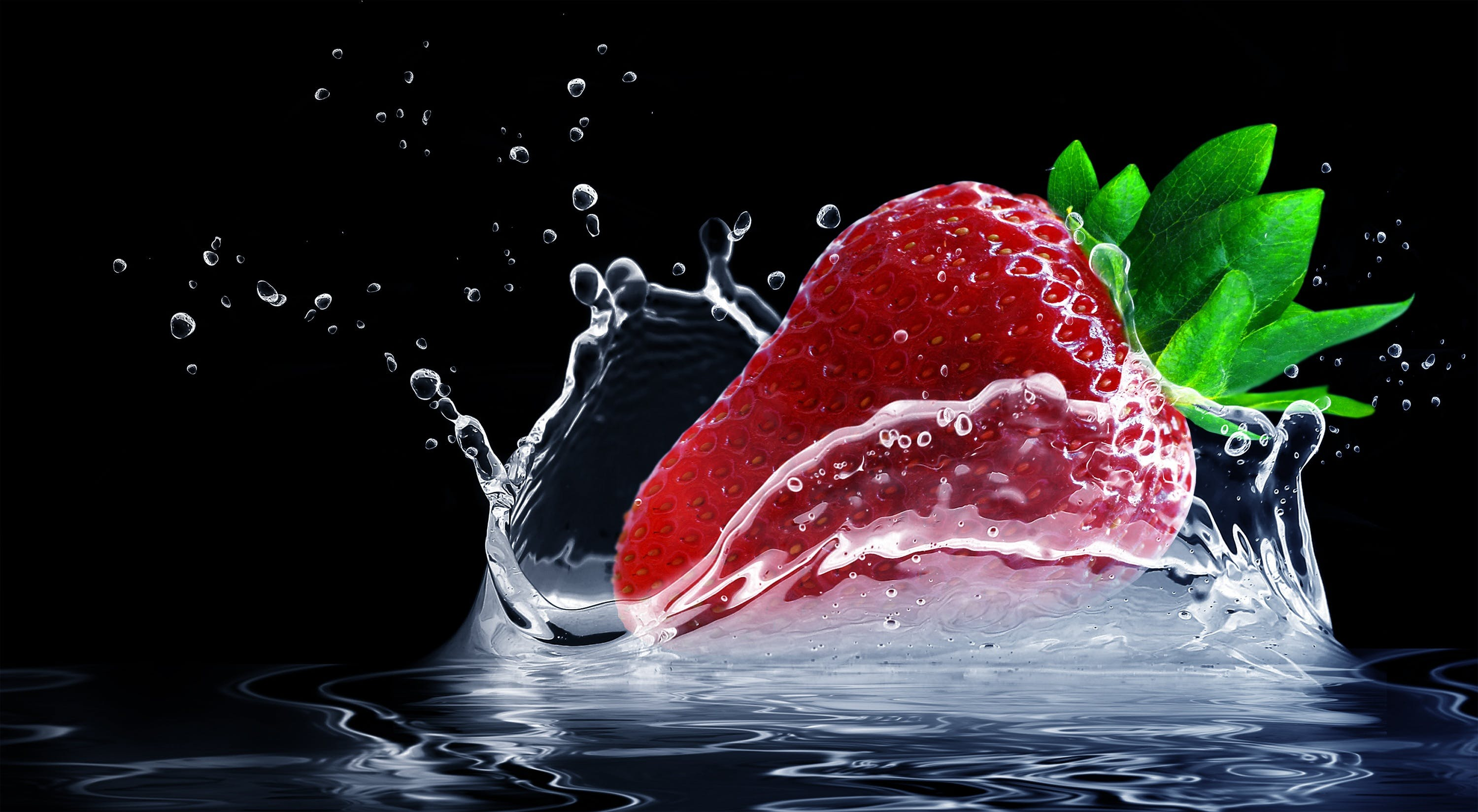Straw Berry Fruit Drop of Water