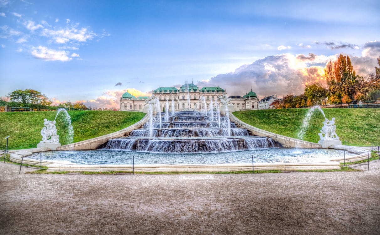 Water Fountain in Front of Castle