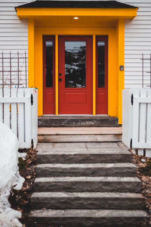 Red and Yellow Entrance Door