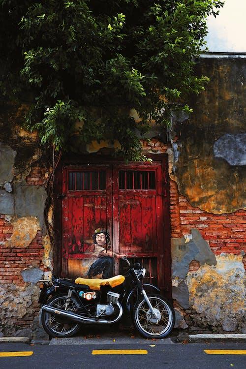 Black Bicycle Parked Beside Red Wooden Door