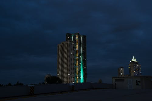 Free stock photo of building, city night, dark