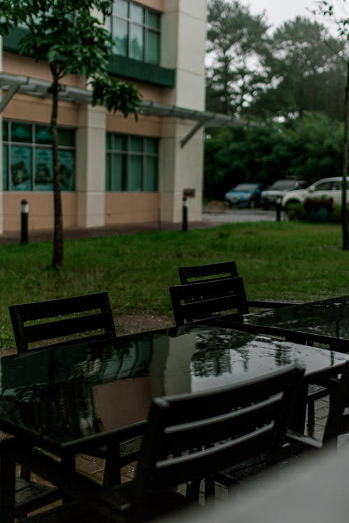 Free stock photo of chair, raining, table