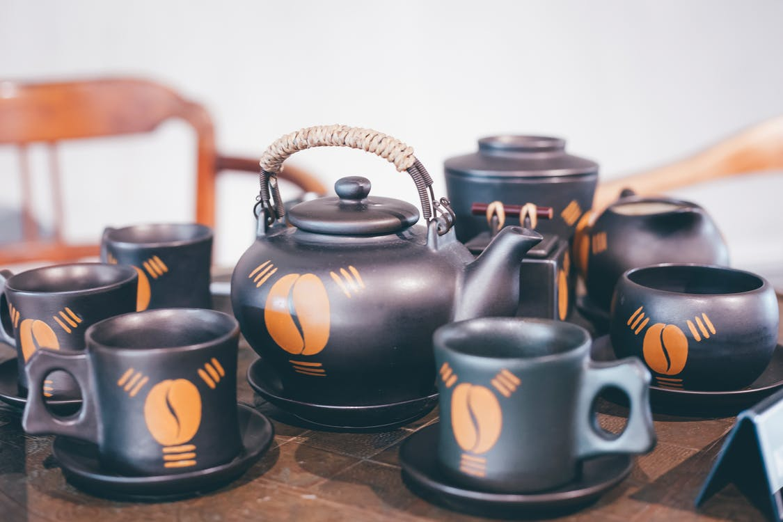 Black and Orange Ceramic Coffee Set