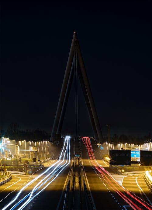 Free stock photo of autostrada, bridge, night