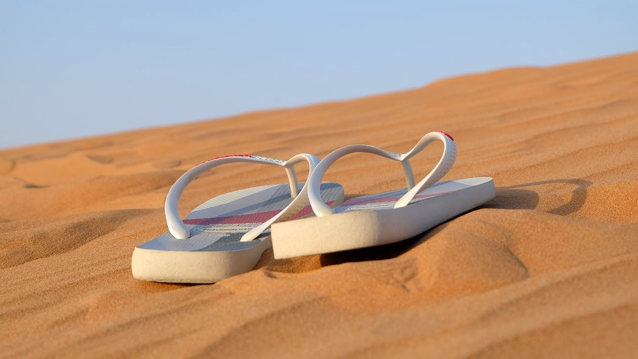 Pair of White Flip-flops on Focus Photo