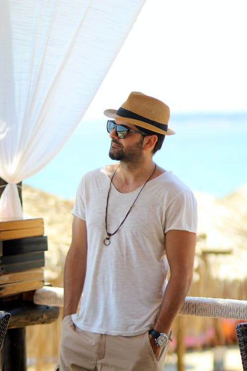 Man in White Crew Neck T-shirt Wearing Black Sunglasses and Brown Fedora Hat