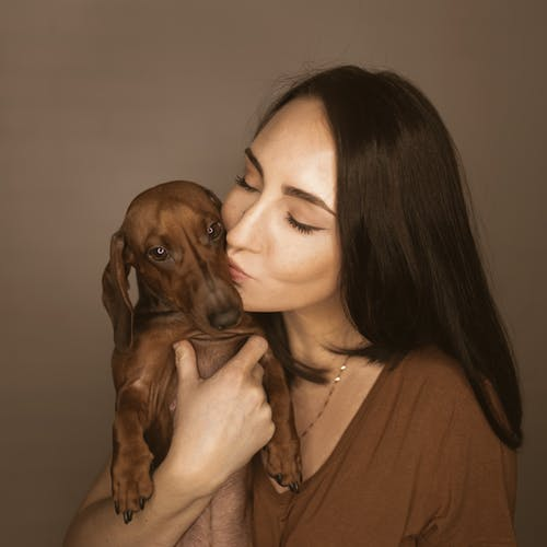 Happy woman hugging and kissing dachshund
