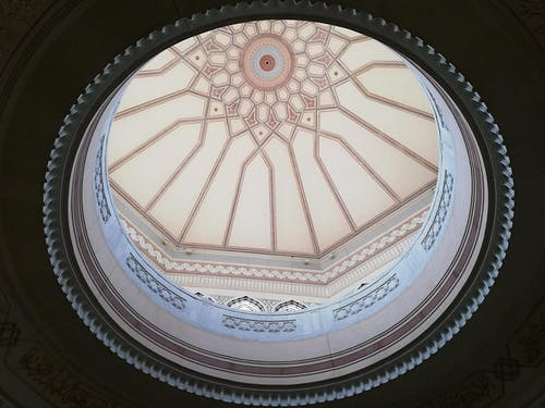 Round dome decorated with ornaments and patterns