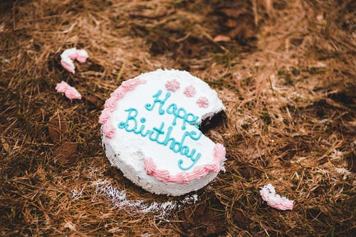 Happy Birthday Cake on Ground