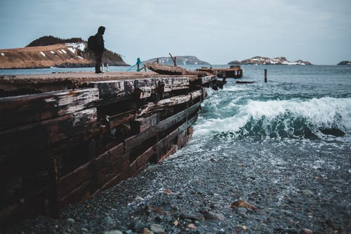 Man in Black Jacket Standing on Brown Wooden Dock