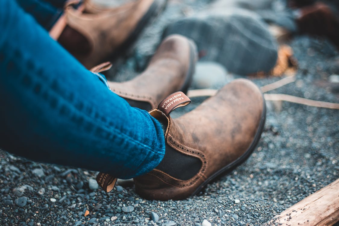 Person in Blue Denim Jeans and Brown Leather Shoes