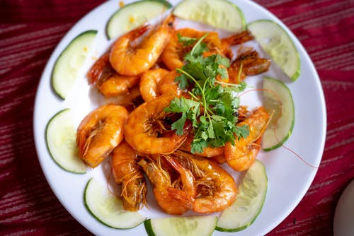 Fried Shrimps on White Ceramic Plate