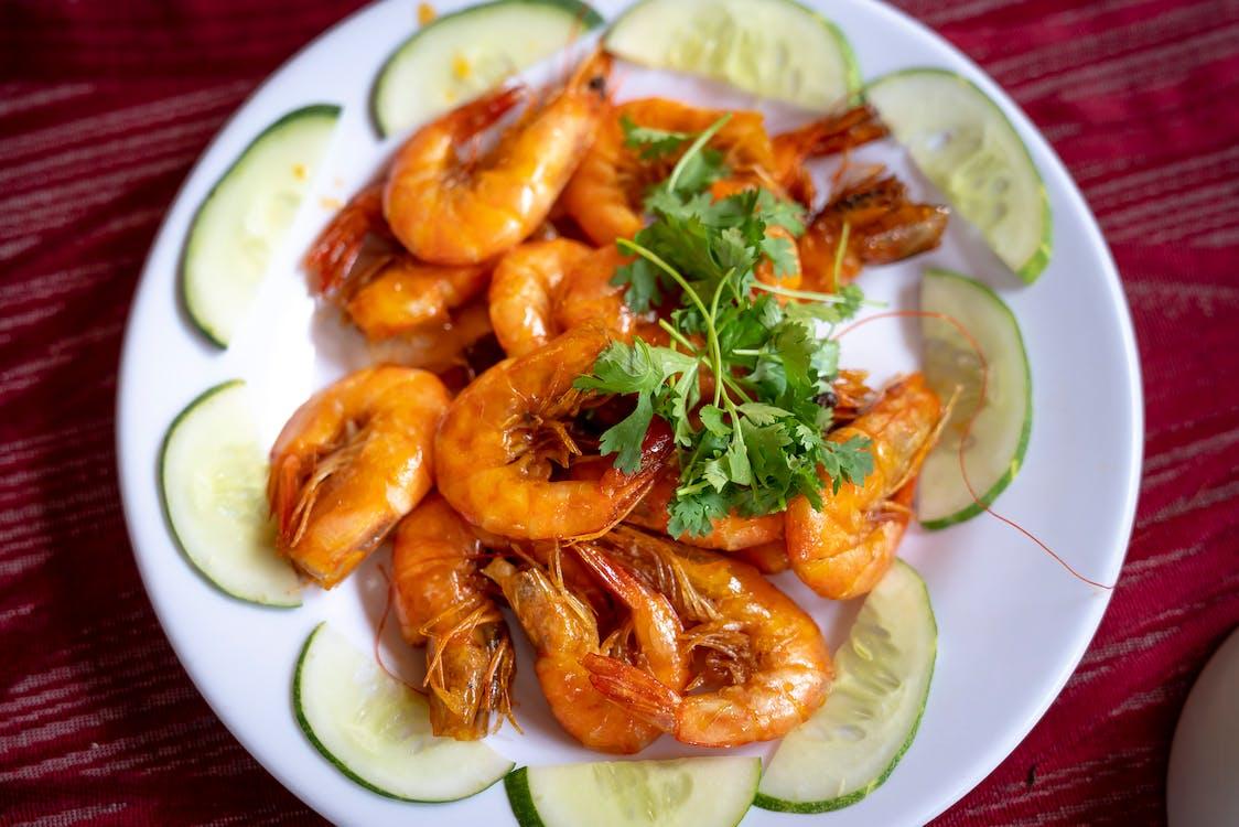 Fried Shrimps on White Ceramic Plate
