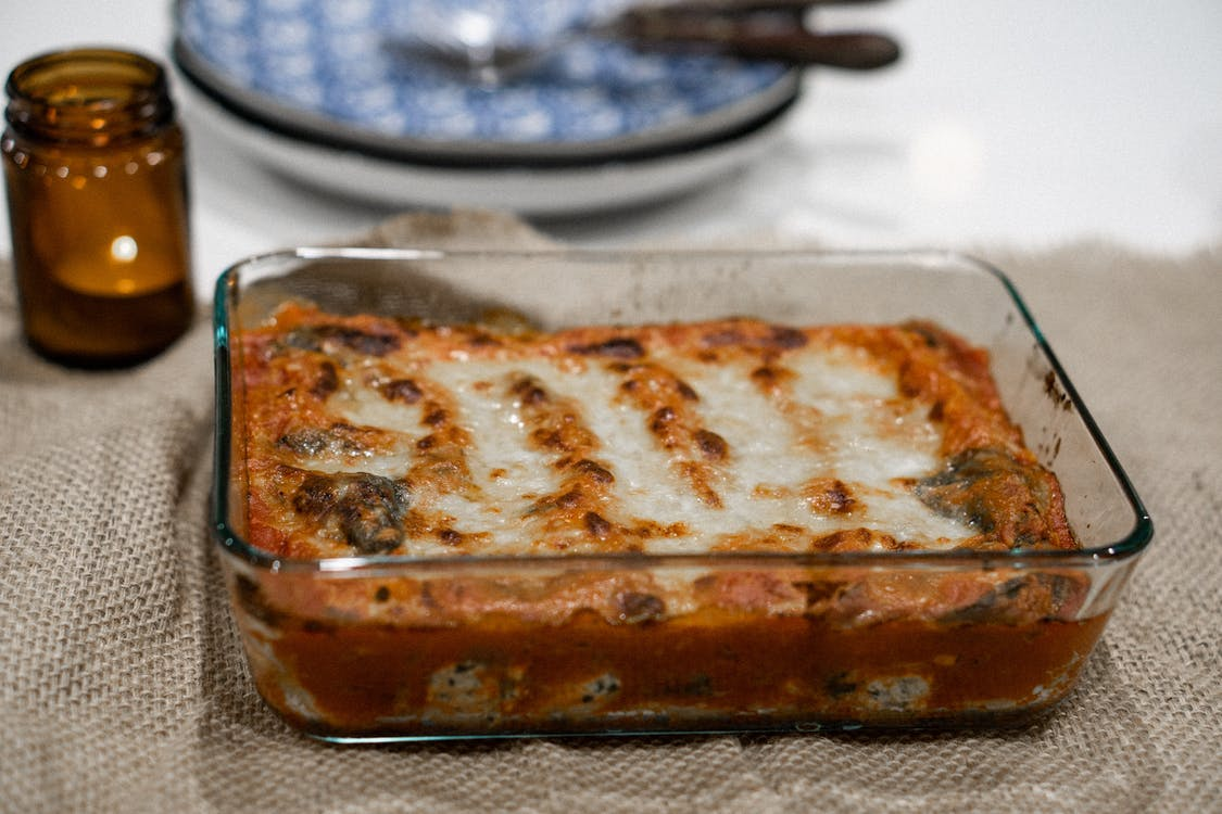 Baked Lasagna on a Glass Tray