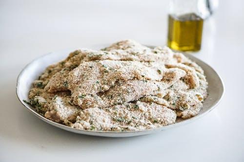 Breaded Chicken on White Plate