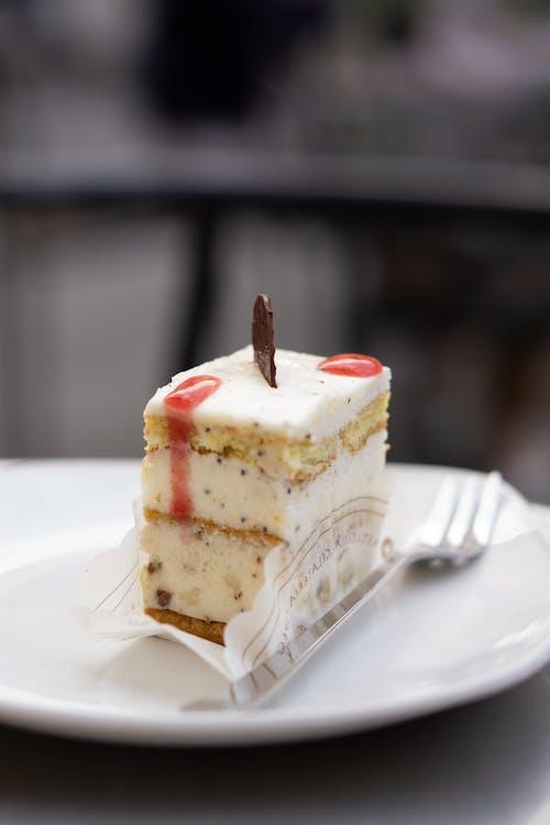 White Cream Cake on White Ceramic Plate