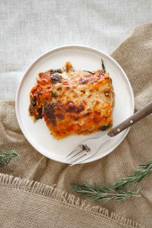 Lasagna on White Ceramic Plate