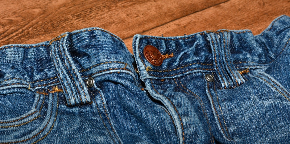Brown Button on Blue Denim Bottom