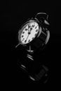 black-and-white, reflection, clock