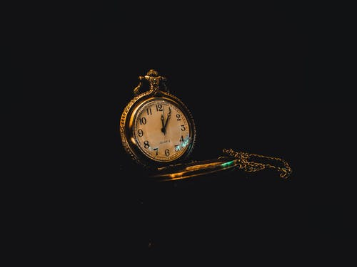 Stylish gold vintage watch with chain