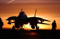 sunset, silhouette, airplane
