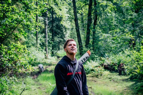 Man in Black Sweater in the Middle of the Forest