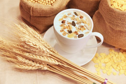 Wheat and Cup of Cereal With Milk