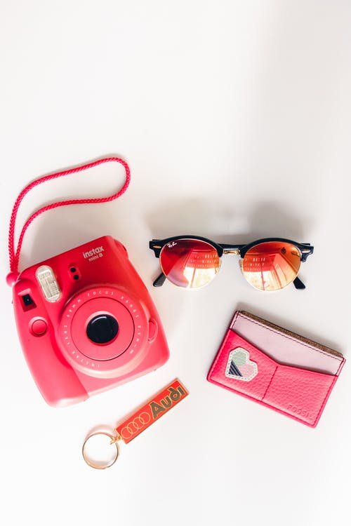 Pink Instax Camera with Pink Lens Sunglasses