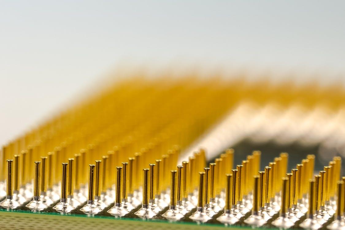 Macro Photography of Processor Pins