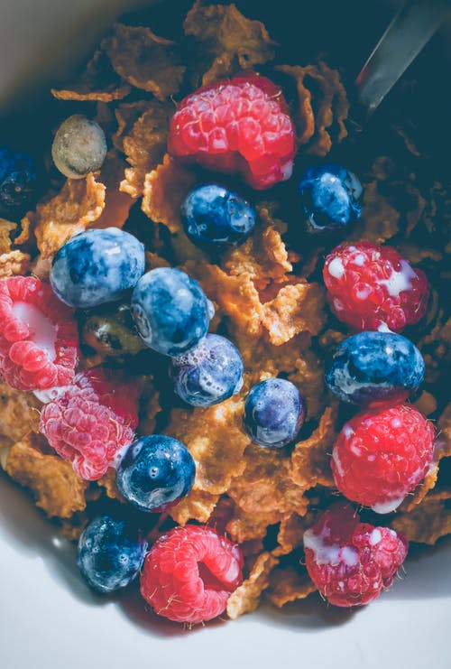 Blue and Red Berries with Cereals