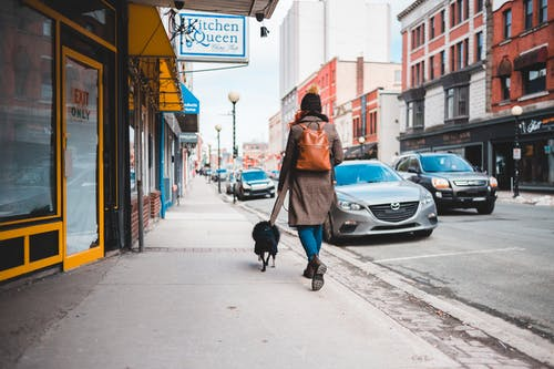 Woman in Brown Coat Walking on Sidewalk With Black Dog